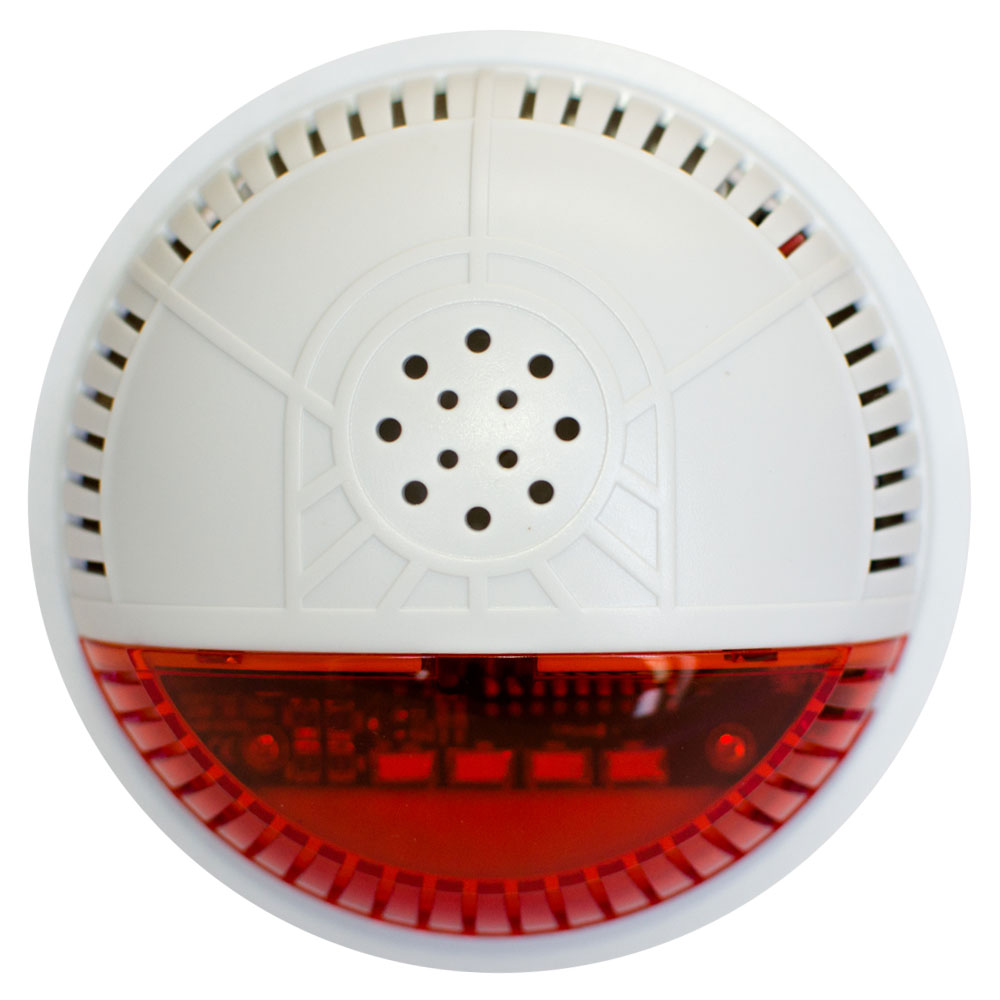 FortrezZ Z-Wave Indoor Siren & Strobe Alarm, Red Lens