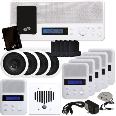 IST I2000 Music & Intercom Deluxe 5-Room Kit with Speakers, White