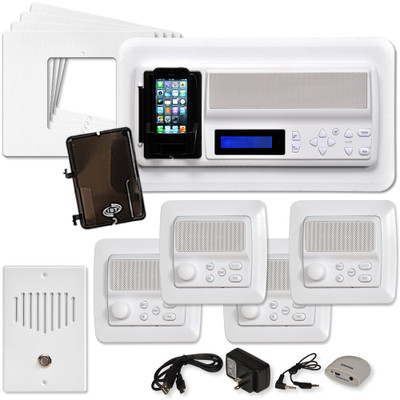 IST RETRO Music & Intercom System Package, 4 Rooms (Horizontal Frames), White