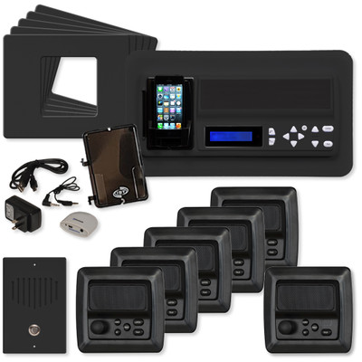 IST RETRO Music & Intercom System Package, 5 Rooms (Horizontal Frames), Black