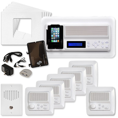 IST RETRO Music & Intercom System Package, 5 Rooms (Horizontal Frames), White