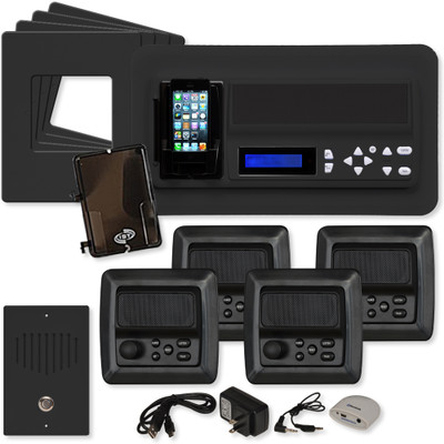 IST RETRO Music & Intercom System Package, 4 Rooms (Vertical Frames), Black