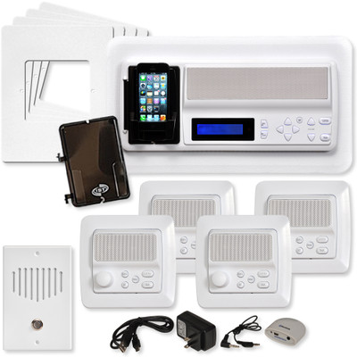 IST RETRO Music & Intercom System Package, 4 Rooms (Vertical Frames), White