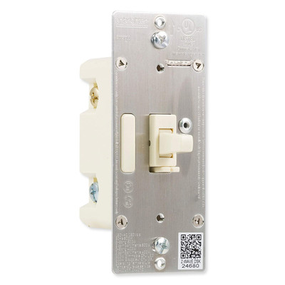 GE Enbrighten Z-Wave Plus In-Wall Smart Toggle Dimmer With QuickFit And SimpleWire, Light Almond