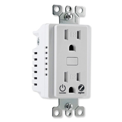 GE Enbrighten Zigbee In-Wall Tamper-Resistant Smart Outlet, White