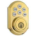 Kwikset SmartCode 910 Z-Wave Traditional Style Deadbolt with Home Connect, Polished Brass