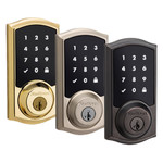 Kwikset SmartCode 916 Z-Wave Touchscreen Deadbolt with Home Connect, Polished Brass