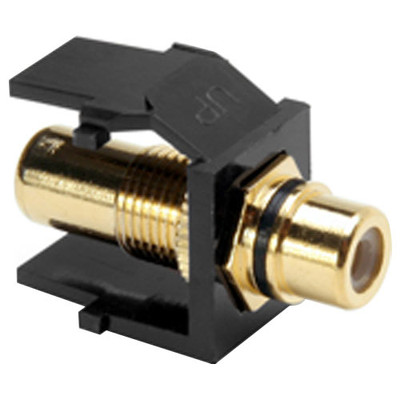 Leviton QuickPort RCA Snap-In Connector (Gold-Plated), Black Stripe, Black