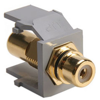 Leviton QuickPort RCA Snap-In Connector (Gold-Plated), Black Stripe, Gray
