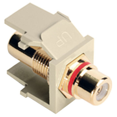 Leviton QuickPort RCA Snap-In Connector (Gold-Plated), Red Stripe, Ivory