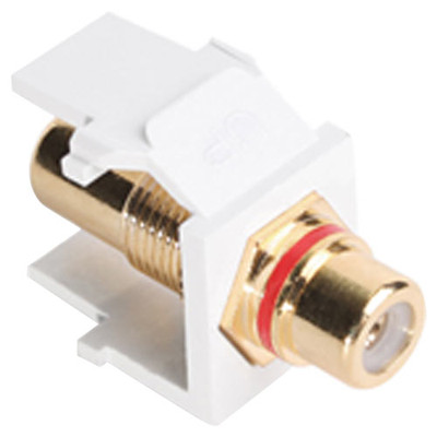 Leviton QuickPort RCA Snap-In Connector (Gold-Plated), Red Stripe, White