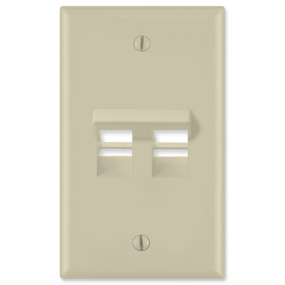 Leviton QuickPort Wallplate, 1-Gang, Angled 2-Port, Ivory