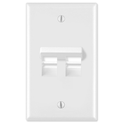Leviton QuickPort Wallplate, 1-Gang, Angled 2-Port, White