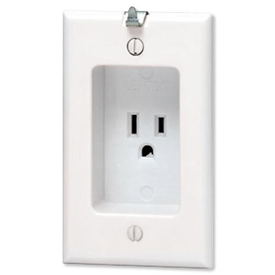Leviton Recessed Receptacle with Clock Hanger Hook, White