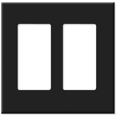 Leviton Decora Plus Screwless Snap-On Wallplate, 2-Gang, Black