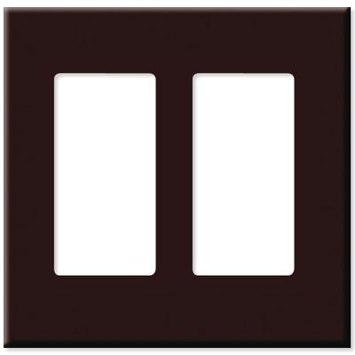 Leviton Decora Plus Screwless Snap-On Wallplate, 2-Gang, Brown