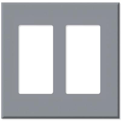 Leviton Decora Plus Screwless Snap-On Wallplate, 2-Gang, Gray