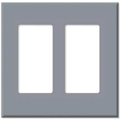 Leviton Decora Plus Screwless Snap-On Wallplate, 2-Gang, Gray