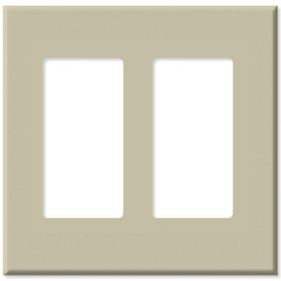 Leviton Decora Plus Screwless Snap-On Wallplate, 2-Gang, Ivory