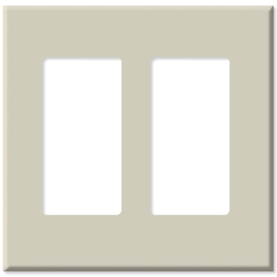 Leviton Decora Plus Screwless Snap-On Wallplate, 2-Gang, Light Almond