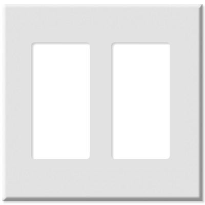 Leviton Decora Plus Screwless Snap-On Wallplate, 2-Gang, White