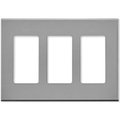 Leviton Decora Plus Screwless Snap-On Wallplate, 3-Gang, Gray