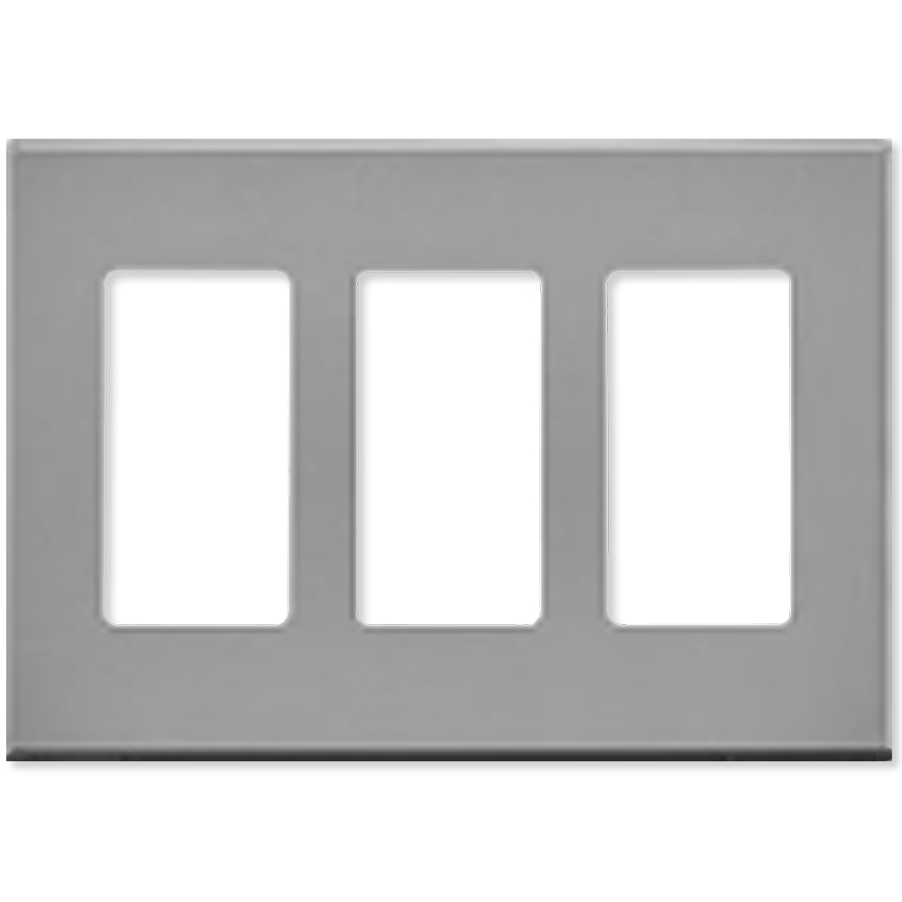Leviton Decora Plus Screwless Snap-On Wallplate, 3-Gang, Gray