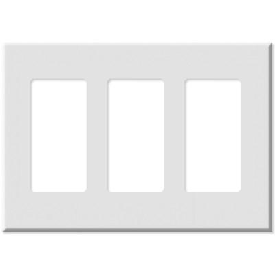 Leviton Decora Plus Screwless Snap-On Wallplate, 3-Gang, White