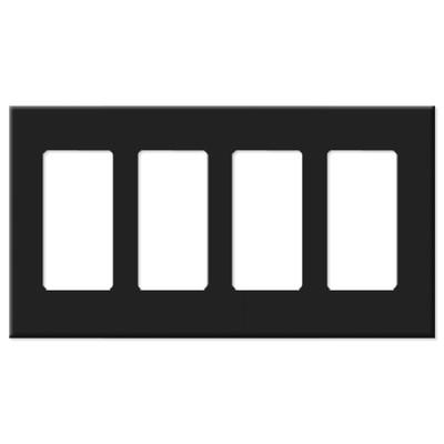 Leviton Decora Plus Screwless Snap-On Wallplate, 4-Gang, Black