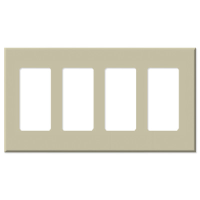Leviton Decora Plus Screwless Snap-On Wallplate, 4-Gang, Ivory