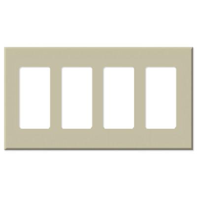 Leviton Decora Plus Screwless Snap-On Wallplate, 4-Gang, Ivory