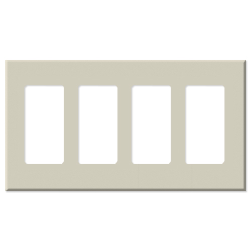 Leviton Decora Plus Screwless Snap-On Wallplate, 4-Gang, Light Almond