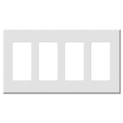 Leviton Decora Plus Screwless Snap-On Wallplate, 4-Gang, White