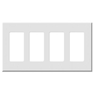 Leviton Decora Plus Screwless Snap-On Wallplate, 4-Gang, White
