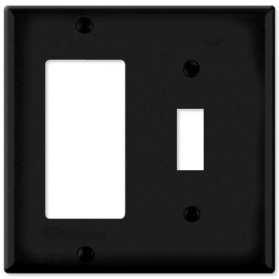 Leviton Combination Wallplate (1 Decora & 1 Toggle), Black