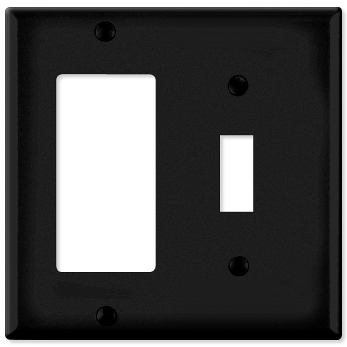 Leviton Combination Wallplate (1 Decora & 1 Toggle), Black