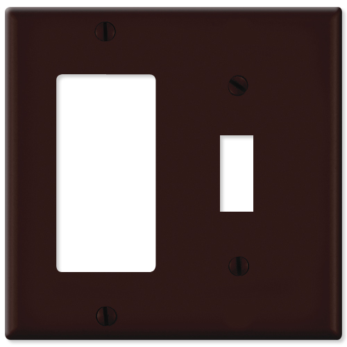 Leviton Combination Wallplate (1 Decora & 1 Toggle), Brown
