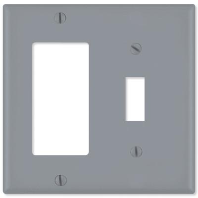Leviton Combination Wallplate (1 Decora & 1 Toggle), Gray