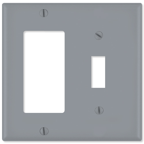 Leviton Combination Wallplate (1 Decora & 1 Toggle), Gray