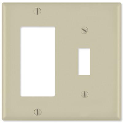 Leviton Combination Wallplate (1 Decora & 1 Toggle), Ivory