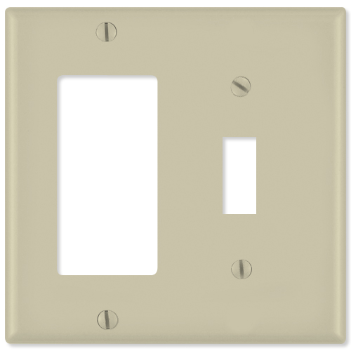 Leviton Combination Wallplate (1 Decora & 1 Toggle), Ivory