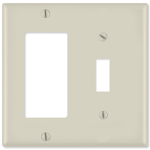 Leviton Combination Wallplate (1 Decora & 1 Toggle), Light Almond