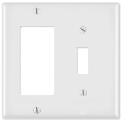 Leviton Combination Wallplate (1 Decora & 1 Toggle), White