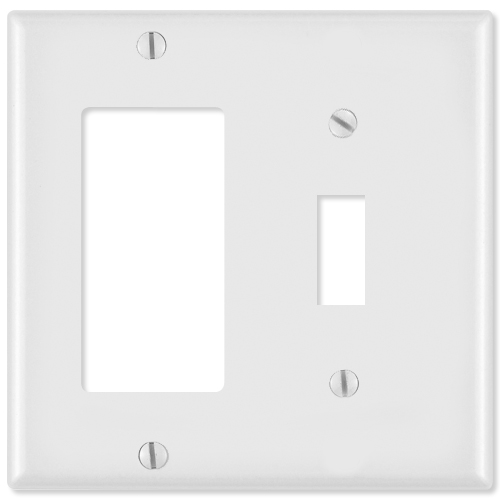 Leviton Combination Wallplate (1 Decora & 1 Toggle), White