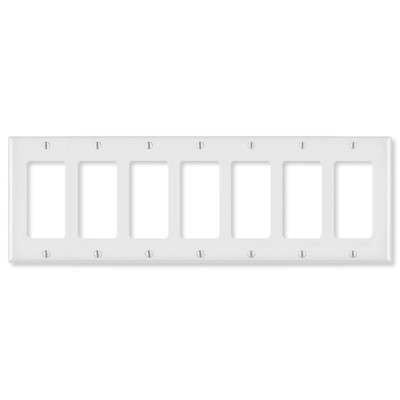 Leviton Decora Wallplate, 7-Gang, White