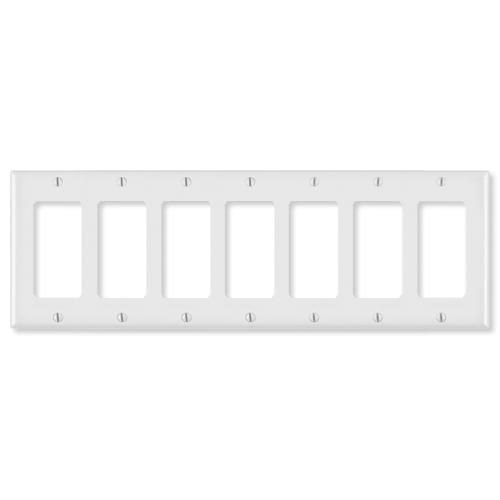 Leviton Decora Wallplate, 7-Gang, White