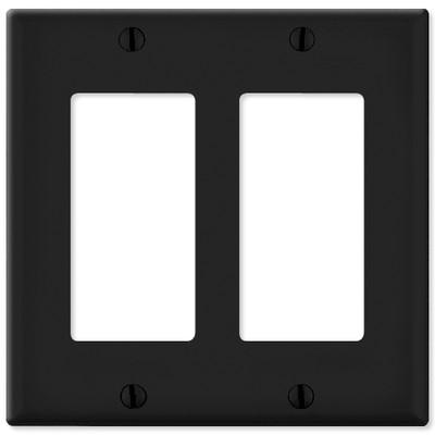 Leviton Decora Wallplate, 2-Gang, Black