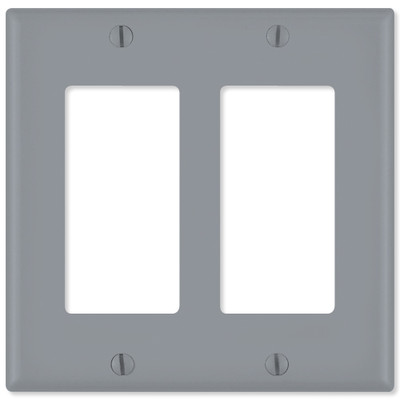 Leviton Decora Wallplate, 2-Gang, Gray