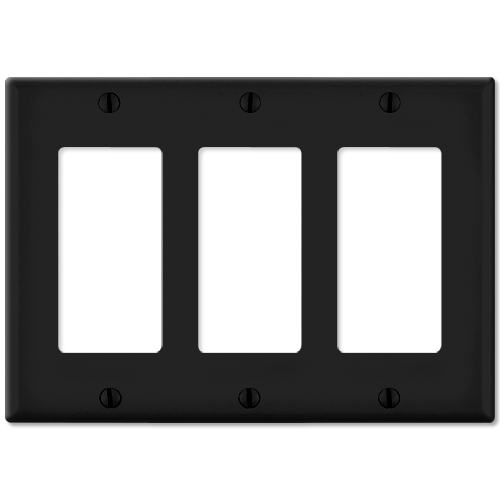 Leviton Decora Wallplate, 3-Gang, Black