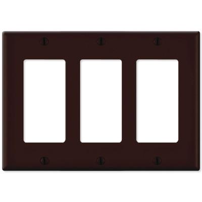 Leviton Decora Wallplate, 3-Gang, Brown